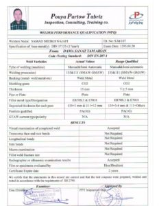 گواهینامه جوشکاران
